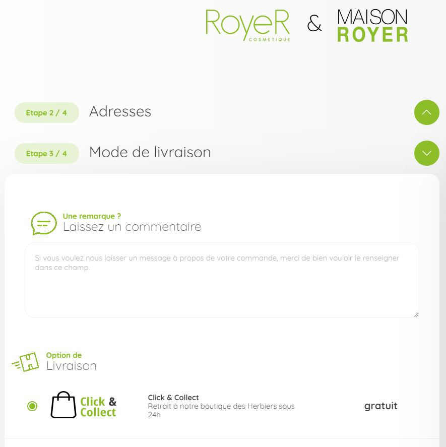 click and collect RoyeR Cosmetique Les Herbiers